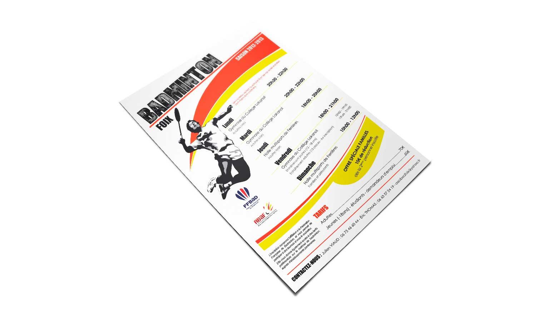 Flyer réalisé pour l'association de badminton de Foix