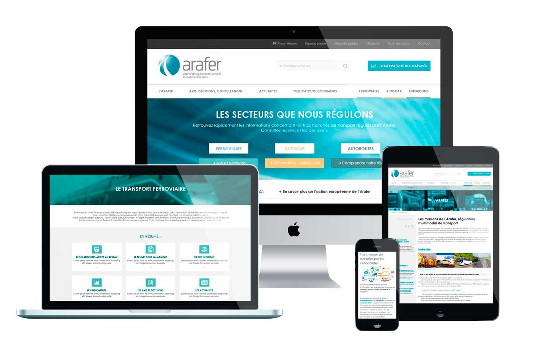 Site internet 2016 de l'ARAFER sur différents supports
