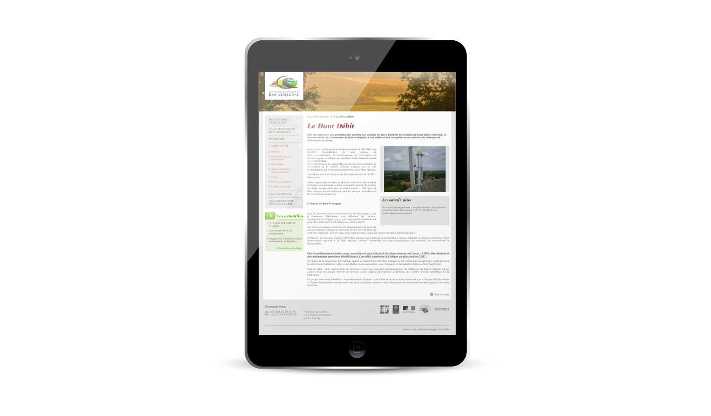 Site internet 2012 de la Communauté de Communes du Bas-Armagnac sur tablette