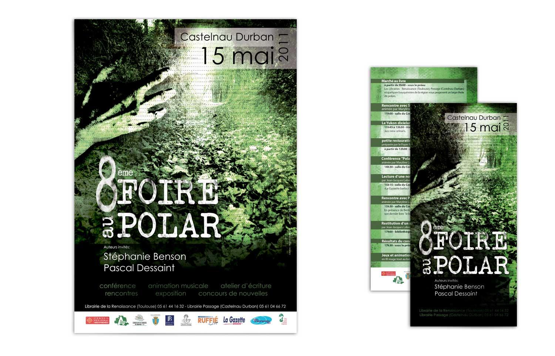 Affiche et flyer réalisés pour la Foire au Polar 2011