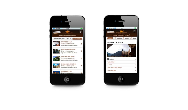 Site mobile 2011 de présentation des Grands Sites d'Ariège