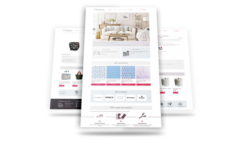 Pages du site e-commerce Cazaméa - vente de tissus, mercerie, objets de décoration...