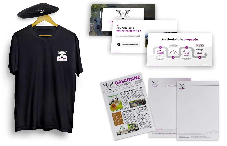 T-shirt, powerpoint, magazine, papier à en-tête déclinés de la nouvelle charte 2019 Gasconne des Pyrénées